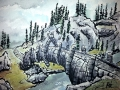 Ralf-Wall-Raflar_watercolour-ink_8x10_Skyrim-Dragon-bridge