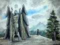 Ralf-Wall-Raflar_watercolour-ink_8x10_Skyrim-Meridias-beacon