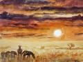 Ralf-Wall-Raflar_watercolour_8x10_zebras-at-sunset
