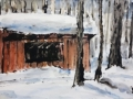 Ralf-Wall-Raflar_watercolour-ink_6x12_Bruce-Trail-Shelter