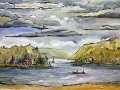 Ralf-Wall-Raflar_watercolour-ink_9x14_cottage-lake-storm-call